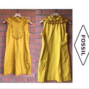 Fossil Mustard Yellow Ruffle Top Dress | Sz S